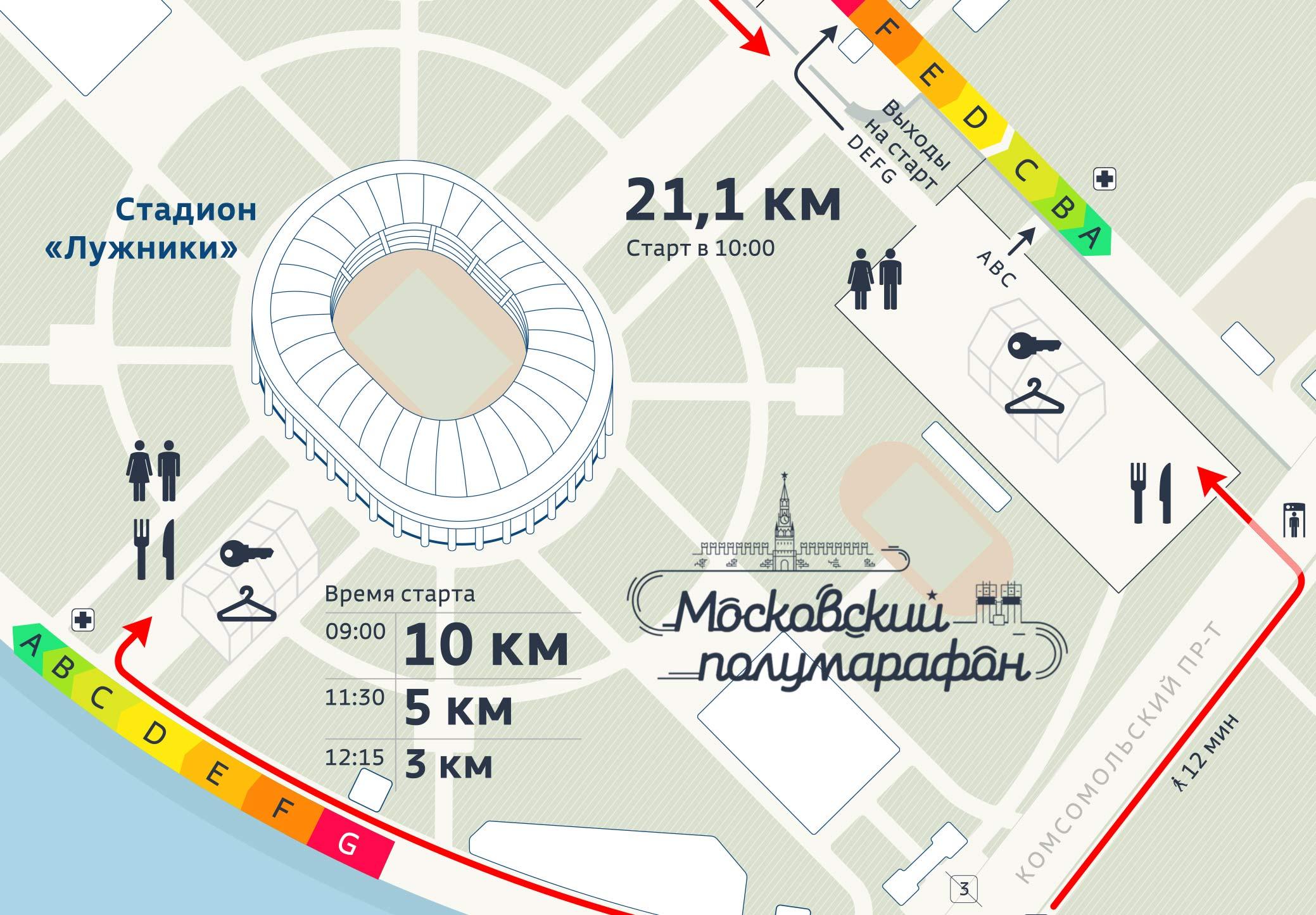 Карты Московского марафона